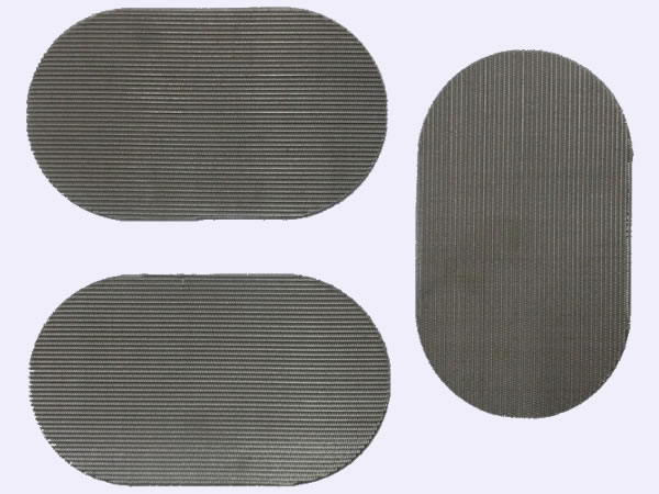 3 round filter screens on gray background.