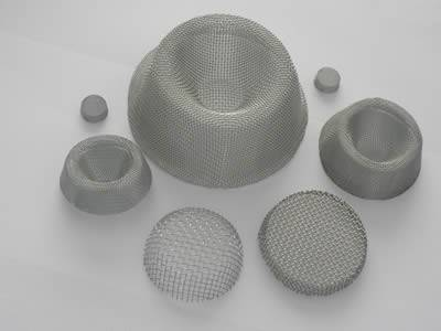 There are seven bowl shape of plain weave extruder screen packs with different sizes.