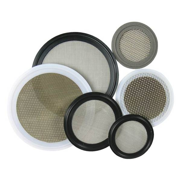 Several pieces of sanitary fluid filtration screen gasket on white background.