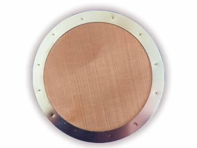 There is a copper extruder screen disc with metal edge frame.